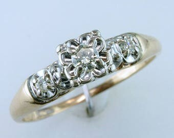 Antique Art Deco .26ct Diamond 14K Yellow Gold Engagement Ring