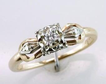 Vintage Antique Art Deco Diamond 14K & 18K Gold Engagement Ring