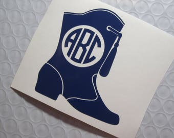 Majorette Monogram Boots Vinyl Decal / Sticker *Available in 24 Colors*