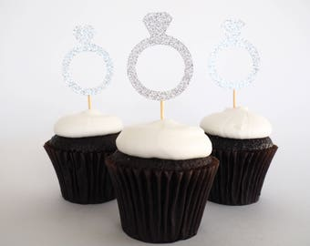 Set of 12 silver glitter diamond ring cupcake toppers | cupcake picks | engagement party decor | hens party | bridal shower | bachelorette