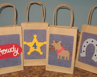 Cowboy Party Gift Bags - Set of 12
