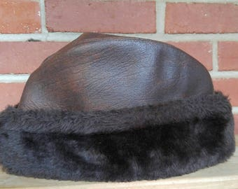 Men's vintage winter hat brown leather faux fur winter toque toboggan winter hat Large