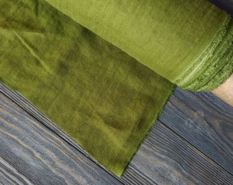 Softened emerald green linen fabric by the meter, natural linen green fabric, green washed stonewashed linen fabric by the yard 7oz 200GSM