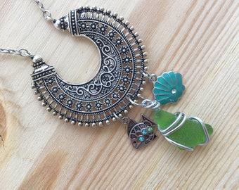 Boho Beach Necklace, Beach Babe Necklace, Beach Bum Necklace, Sea Glass Necklace, Boho Necklace, Boho Jewelry, Sea Glass Jewelry, Beach Life