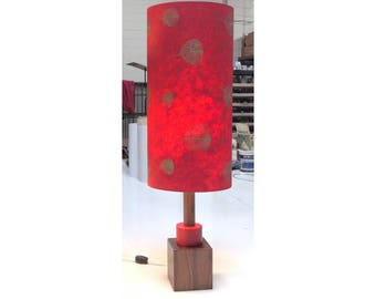 New Lamp with Modern Vintage feeling, deep Red shade & Walnut wood base