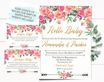 Floral Baby Shower Invitation, Baby Shower Invitation, Girl Baby Shower Invitation, Boho Baby Shower Invitation, Girl Invitations