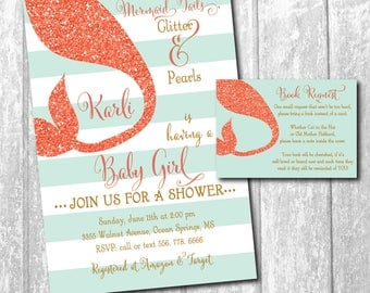 Mermaid Baby Shower Invitation with Matching Book Request printable/coral, glitter, aqua, mint, tail, gold/wording can be changed