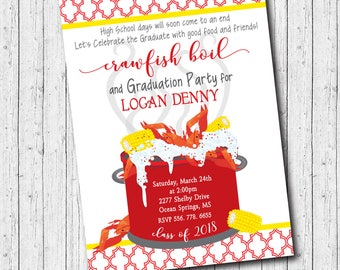 Crawfish Boil Invitation Graduation Party/Shrimp Boil, Seafood Boil, Class of 2018, Senior Party, grad/Digital File/Wording can be changed