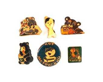 Vintage Soviet pin badges - Animals from fairy tale / Made in USSR, 1970s