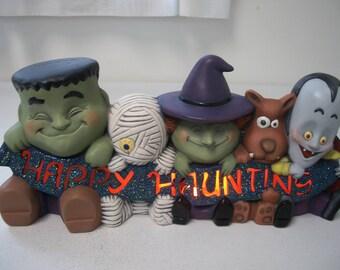 Ceramic Frankenstein,Mummy,Witch,Werewolf,Dracula/Vampire Halloween Lighted Decoration