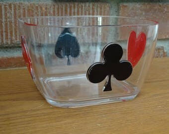 Card Suite Acrylic Snack Bowl, Vintage 70's Game Night Bowl, Vegas Party Serving Dish, Popcorn Pretzel Treat Container
