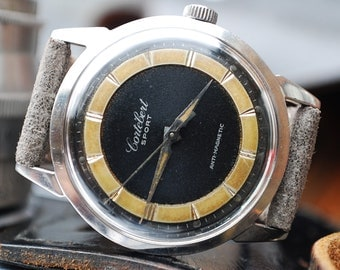Cortebert Sport Grand Prix Bullseye Gents Vintage Watch In Box c1950's-Rare Piece!
