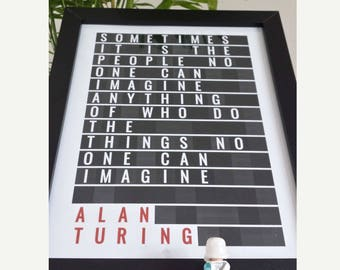 ALAN TURING, Art Print, Science Art, Science Gift, Turing, Alan Turing Print, Engineer gift, Computer geek gift, Gift for Engineer, 8x10