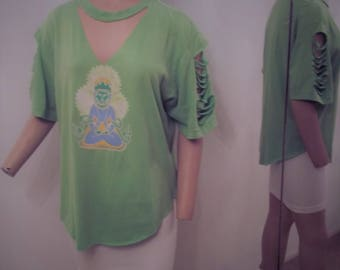 ZEN yoga  GREEN T SHIRT ...cut up upcycled..med.
