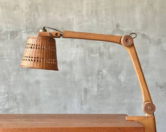Hand Carved Clamping Desk Lamp.