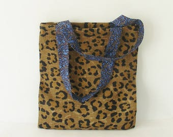 Tote Bag leopard and vintage liberty blue
