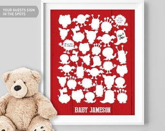 Monster Birthday Guest Book Alternative / Red Monster Guest Book, Cuddly Monsters / Monster Baby Book ▷ Canvas, Paper {or} Printable