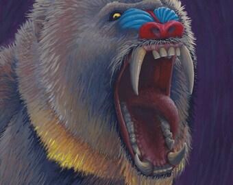 Original Art - Mandrill / Baboon Painting, Gouache