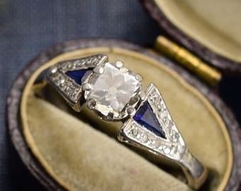 1920s Art Deco .60ct Diamond & Sapphire Engagement Ring in 18k White Gold and Platinum