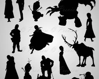 Buy 2 Get 1 Free! Digital Clipart Silhouettes Frozen cartoon characters Disney funny friends black images png/eps/svg/dxf/pdf/studio files