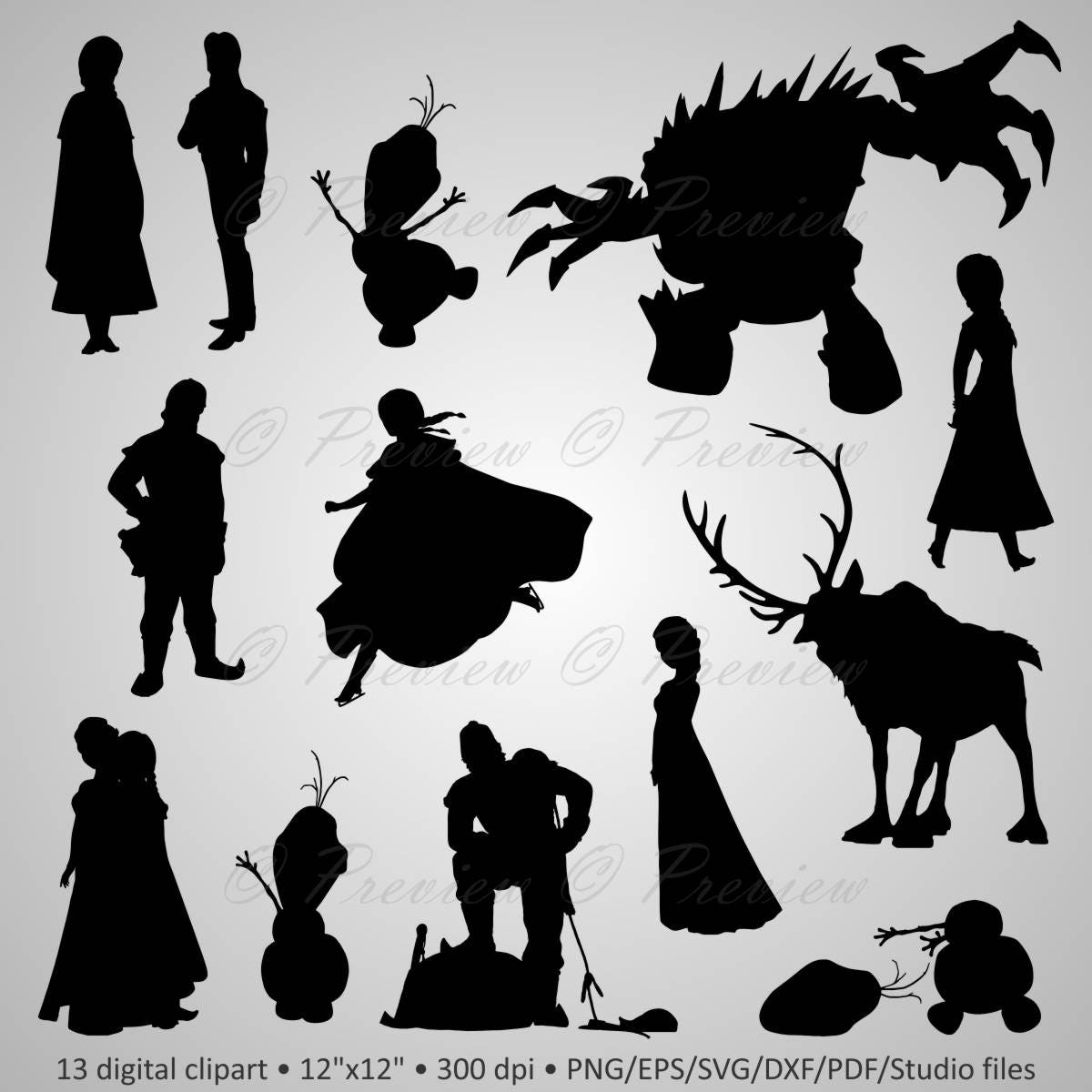 Buy 2 Get 1 Free! Digital Clipart Silhouettes Frozen ...