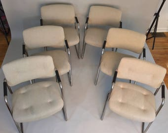 Set of (6) Steelcase Tubular Chrome Cantilever Chairs All original condition, tags, fabric