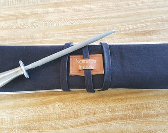 7 slot Navy Denim and striped denim Knife roll, knife case, chef case, chef roll (personalized with initials or name)