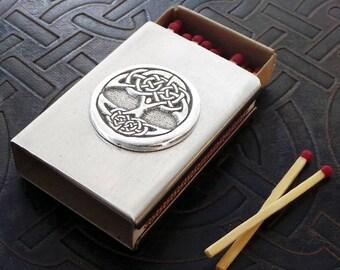 Tree of Life Match Box in Stainless Steel - Treasure Box - BPAL Imp holder - Stash Box - Celtic Knot
