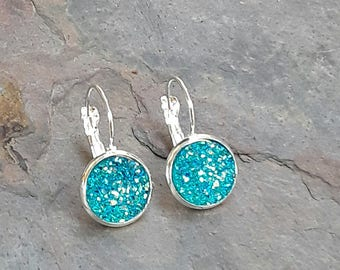 Aqua Druzy Lever Back Threader Earrings, Druzy Earrings, Aqua Earrings, Druzy Aqua  Earrings, Australian Made, Gift for Her, Druzy Jewelry