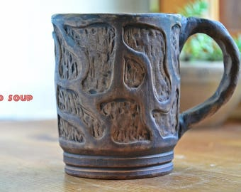 Ceramic cup, eco pottery mug, organic clay teacup
