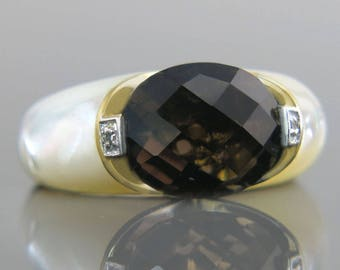 Estate 14K Gold 5.50ct Smoky Quartz Mother of Pearl & Diamond Ring