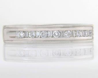 Estate Designer RJM 14K White Gold .38ct Genuine Diamond Wedding Band Ring
