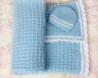 Blue baby blanket, Crochet baby blanket, Ready to ship, Boys baby blanket, Newborn blanket, Nursery blanket, Baby gift, Baby shower gift