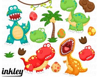 50%OFF!! Cute Tyrannosaurus Clipart - Cute Clipart, Fun Clipart, Clipart Set, Adorable Digital Clip Art