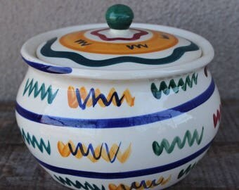Vintage Hand Painted Gail Pittman Zig Zag Pattern 2 Qt Round Covered Casserole