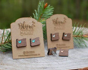 Earrings - I heart Oregon Studs