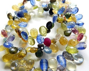 """63% OFF Multi Gemstone,Tourmaline Faceted Teardrop Beads Pear Shape Briolettes Size 9x6.5.mm To 8x6.mm Approx 9""""Inches Top Quality Wholesale"""