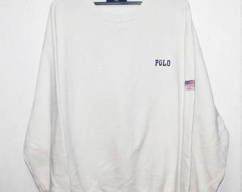 VINTAGE RALPH LAUREN polo sport usa flag sweater sweatshirt stadium snow beach