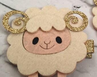 Sheep Hairclips, Felt Hair Clips, Animal Clips, Novelty Clips, Animal Hair Clips, Sheep Hair Clips
