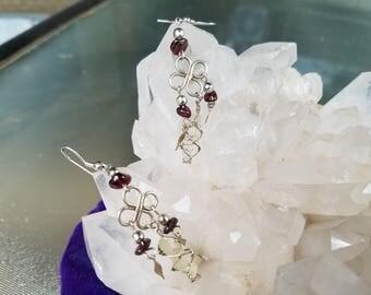 Sterling Silver Garnet & Crystal Earrings