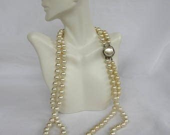 Vintage Japan Double Strand Faux Pearl Bead Necklace with Mother of Pearl Cabochon Box Clasp