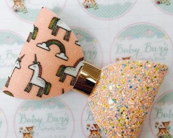Pretty Peach Unicorn Glitter Bow  -Hairbows-Hairbands-Bows-Girls Hairbow