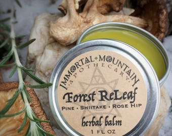 Forest ReLeaf - wild rose hip, pine, rosemary, & shiitake mushroom rejuvenating herbal balm for dry sensitive skin