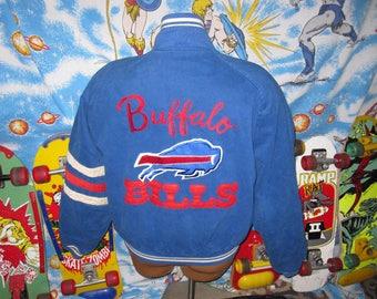 1995 Buffalo Bills MIRAGE Varsity Jacket - sz L vintage nfl coat - diamond quilt lined