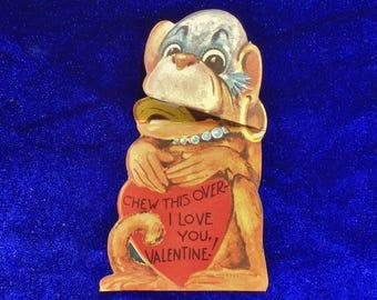 1940's Valentine Monkey Chewing Banana Card