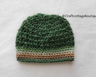 Crochet Baby Hat -  Tan Beige Brown Sage Forest Green - Baby Beanie - Choose Your Size - Infant - Photography Props - Unisex - Stocking Cap