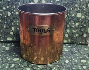 Vintage 1950s Tool Can, Copper Can, Tool Storage, Workbench Decour
