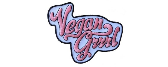 Vegan Grrrl, patch, iron on patch, vegan patch, vegan