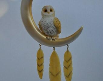 Barn Owl on Crescent Moon Dream Catcher