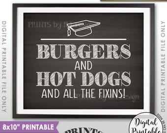 "Burgers & Hot Dog Sign, Hot Dogs and Hamburgers and Hot Dogs, Graduation Party Food, 8x10"" Chalkboard Style Printable Instant Download"